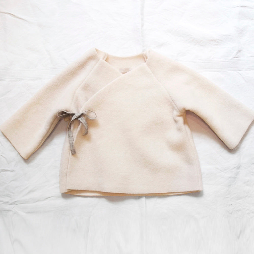 Makié Kimono Fleece Baby Jacket in Ivory | BIEN BIEN