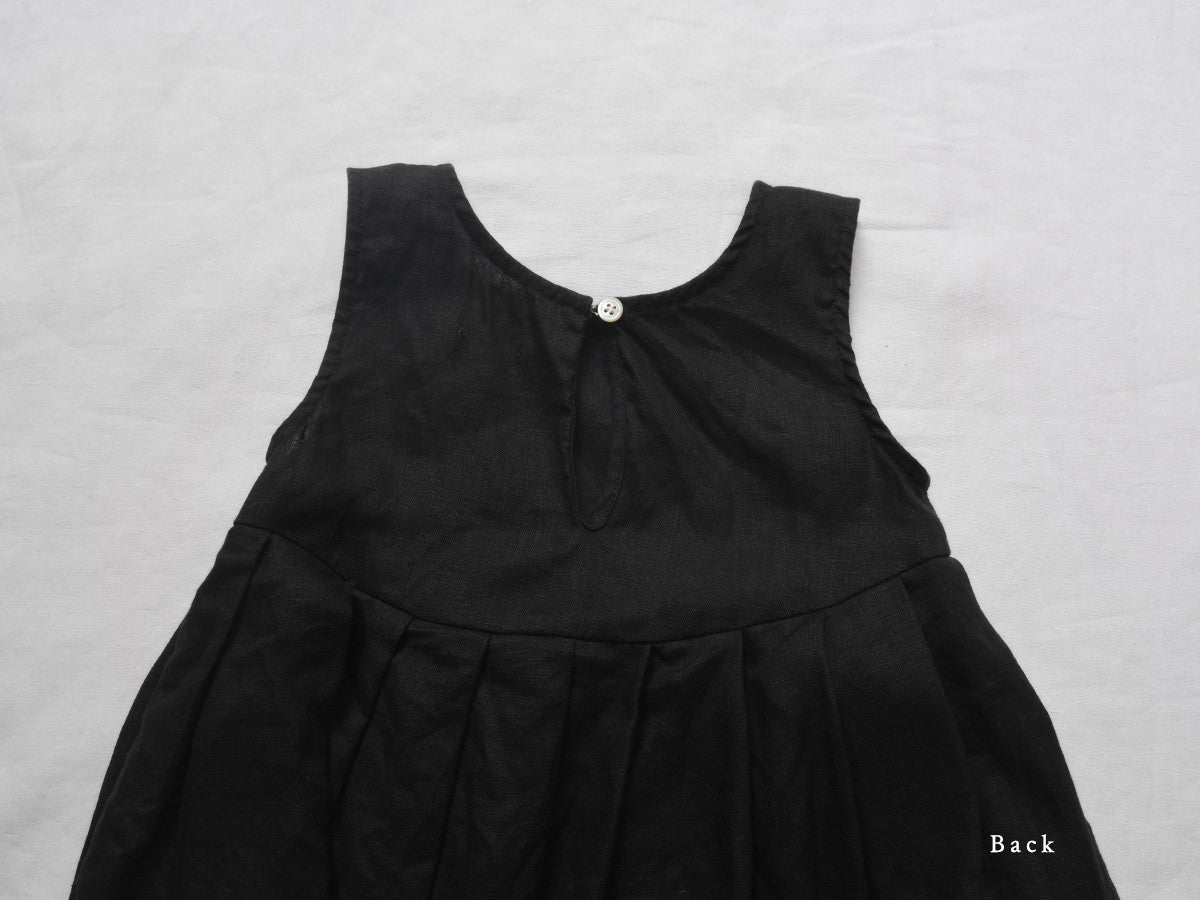 Makié Lulu Kid's Sleeveless Empire Waist Pleated Dress Black Linen SALE  | BIEN BIEN bienbienshop.coom