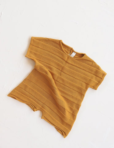 New - Millk Baby & Kid Weekend Short Sleeve Knit Jumpsuit Golden | BIEN BIEN www.bienbienshop.com