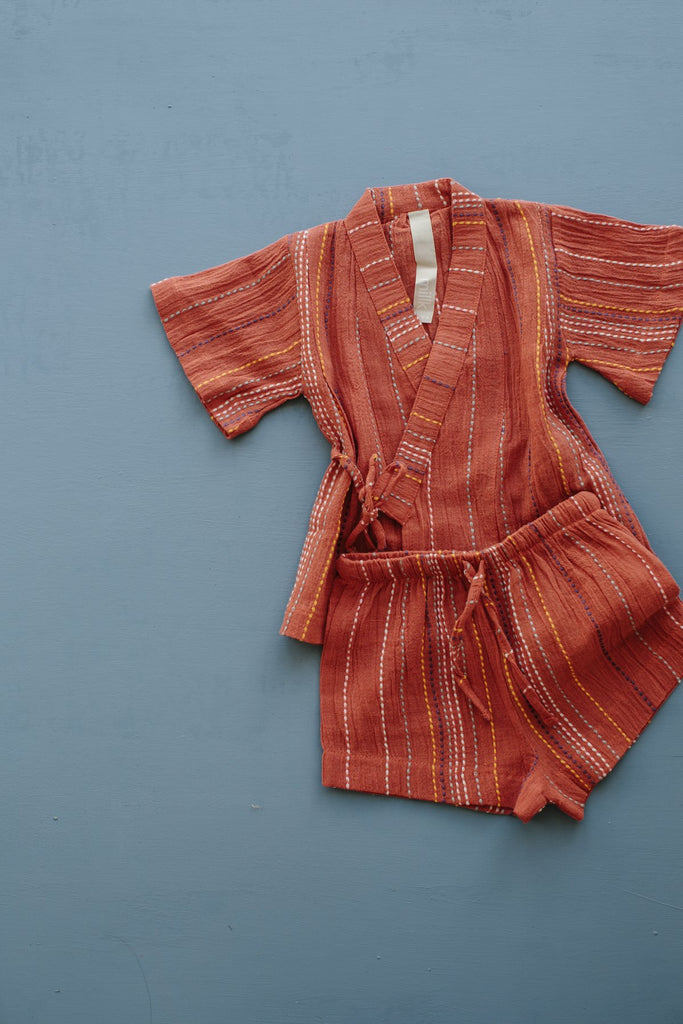 Millk Australia Occasional Kid's Kimono Set in Red Stripe | BIEN BIEN