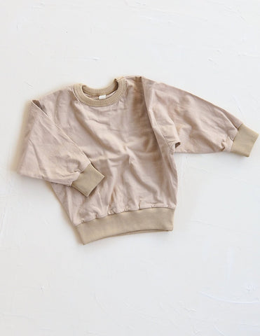New - Millk Australia Basic Baby & Kid Cotton Long Sleeve Sweatshirt Sand | BIEN BIEN www.bienbienshop.com