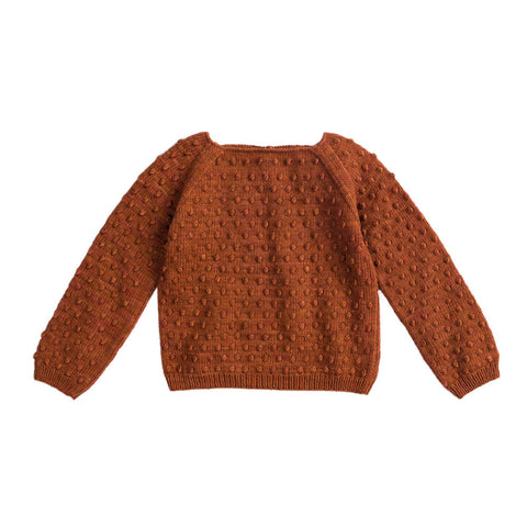 Misha & Puff Summer Baby Girl/Girl's Popcorn Sweater in Terracotta | BIEN BIEN