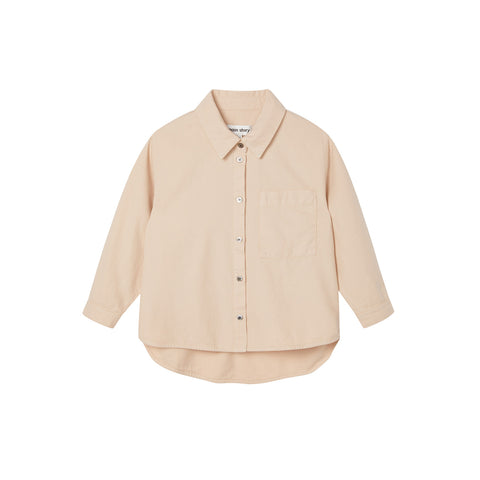 Main Story Kid's Oversized Buttondown Shirt Smoke Grey Beige | BIEN BIEN