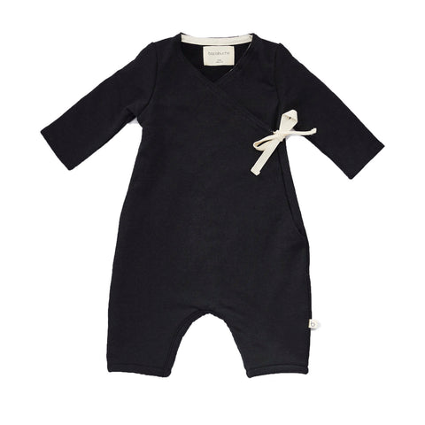 Bacabuche Long Sleeve Baby Kimono Romper in Black | BIEN BIEN