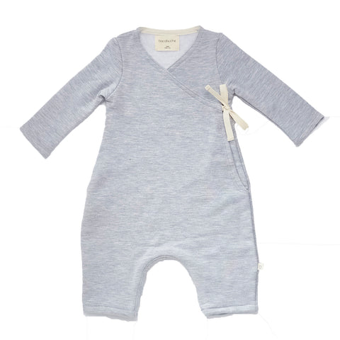 Bacabuche Long Sleeve Baby Kimono Romper in Light Grey | BIEN BIEN