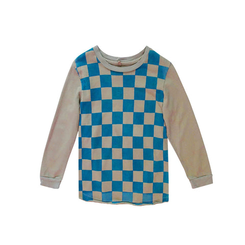 Nico Nico Checkers Organic Long Sleeve Kid's T-Shirt Sea | BIEN BIEN