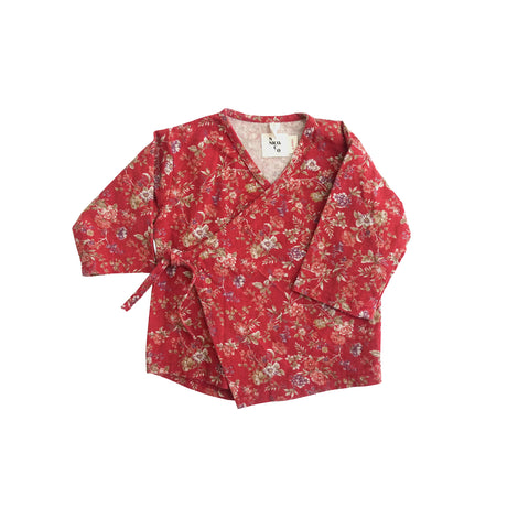 New Nico Nico Quinn Baby Kimono Wrap Top Red Floral Cotton | BIEN BIEN bienbienshop
