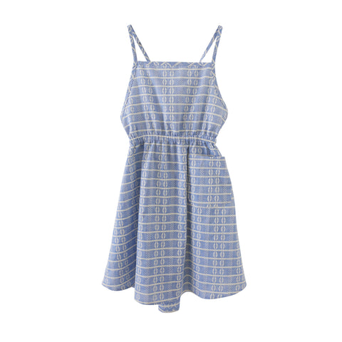 Nico Nico Rose Girl's Apron Dress in Blue Block | BIEN BIEN