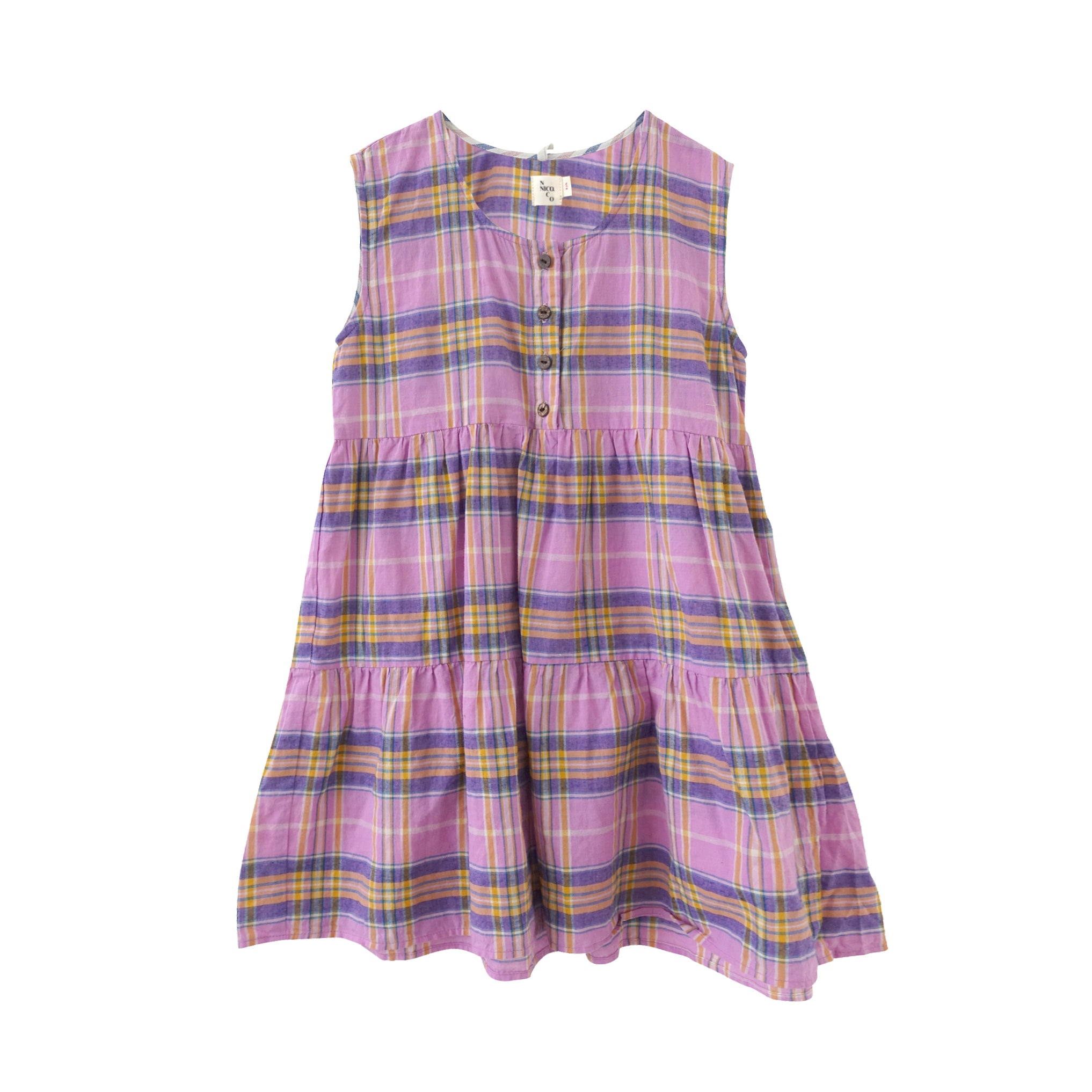 Nico Nico Evelyn Kid's Tiered Sundress Orchid Picnic Check | BIEN BIEN www.bienbienshop.com