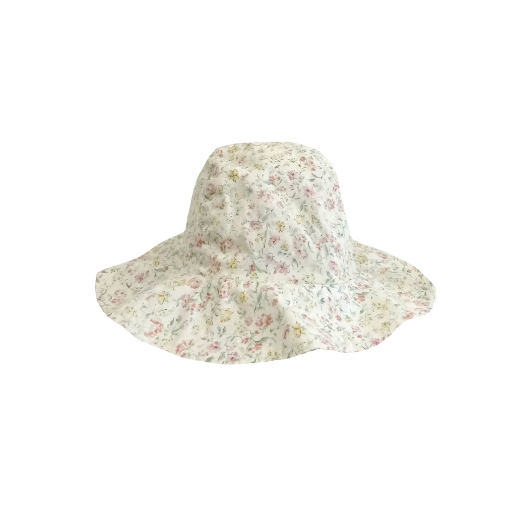 NEW Nico Nico Tate Kid's Bucket Hat Floral Cotton White | BIEN BIEN