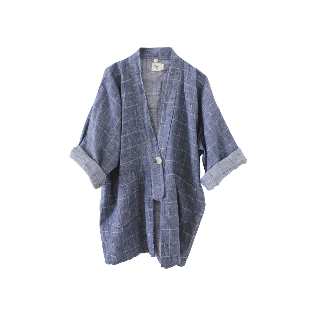 Nico Nico Bay Kid's Kimono Jacket in Chambray Check | BIEN BIEN
