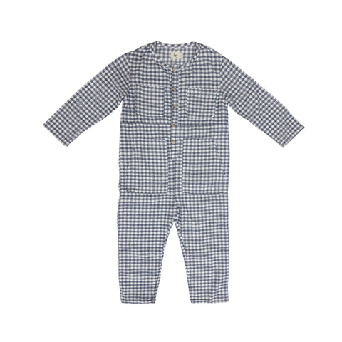 Nico Nico Atticus Flannel Kid's Jumpsuit in Grey Check | BIEN BIEN