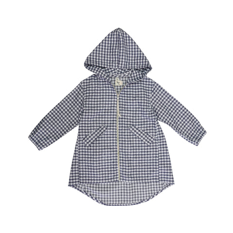 Nico Nico Hiro Kid's Parka Jacket in Grey/White Check | BIEN BIEN