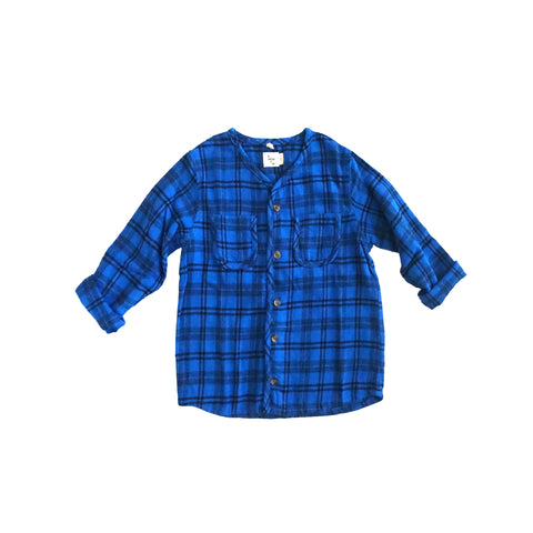 Nico Nico Becker Flannel Kid's Buttondown Shirt Blue Plaid | BIEN BIEN