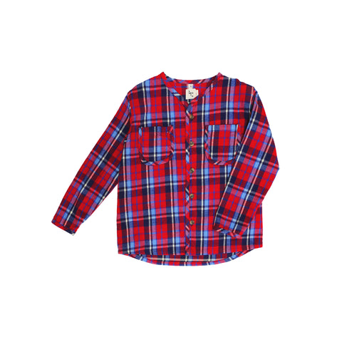 Nico Nico Becker Flannel Kid's Buttondown Shirt Red Plaid | BIEN BIEN