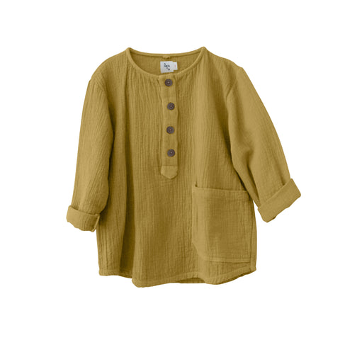 New Nico Nico Jamie Kid's Quilted Long Sleeve Henley Shirt Mustard Gold Yellow | BIEN BIEN bienbienshop