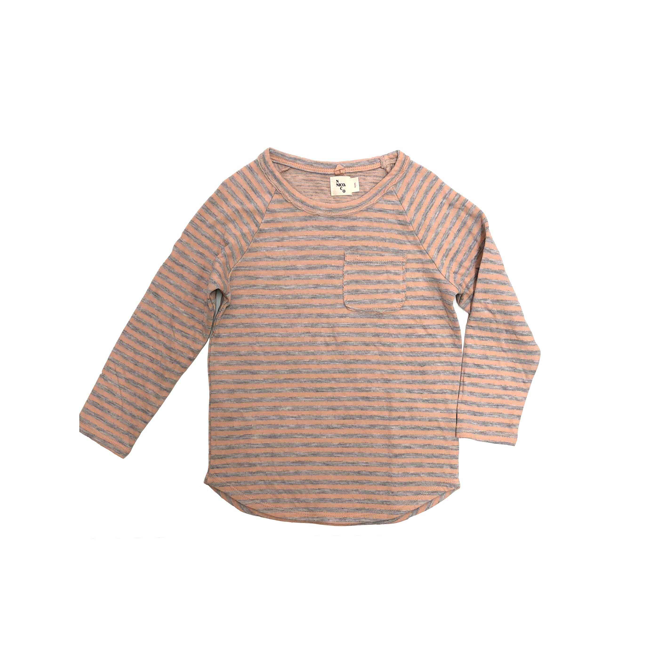Nico Nico Perry Raglan Long Sleeve Kid's T-Shirt Petal Pink/Grey Stripe | BIEN BIEN