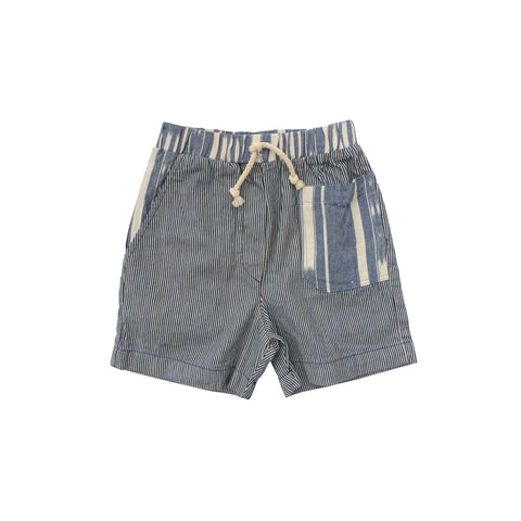 Nico Nico Andy Kid's Patchwork Short Railroad Stripe Ikat | BIEN BIEN www.bienbienshop.com