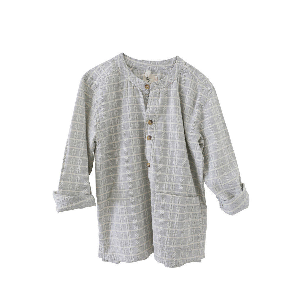 Nico Nico Olympic Kid's Block Pocket Henley Shirt in Grey | BIEN BIEN