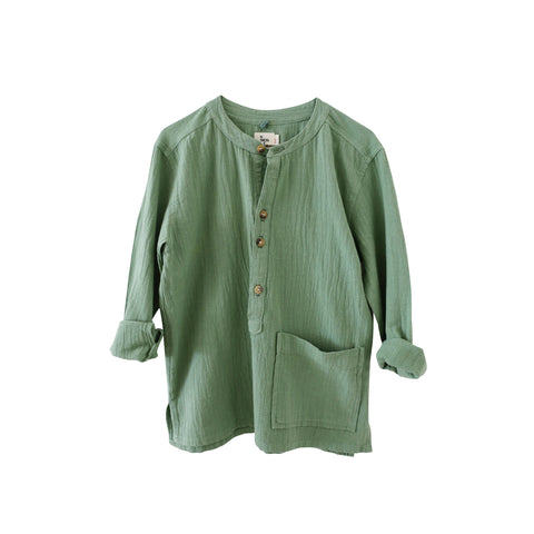 Nico Nico Olympic Kid's Pocket Henley Shirt in Cactus | BIEN BIEN