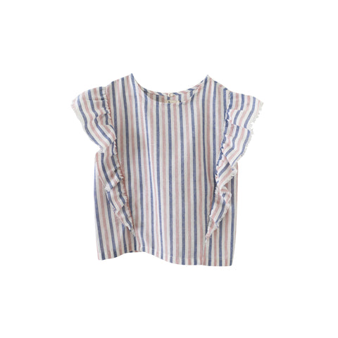Nico Nico McKinley Kid's Ruffle Top in Rad Red Lines | BIEN BIEN