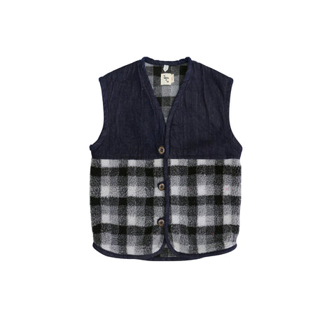 Nico Nico Kurt Sherpa Vest in Dark Denim/Plaid | BIEN BIEN