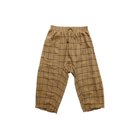 Nico Nico Bhuti Kid's Flannel Draw Pant Curry Check | BIEN BIEN www.bienbienshop.com