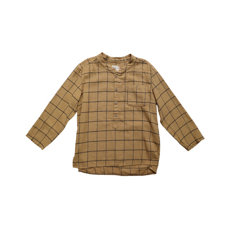Nico Nico Pema Kid's Flannel Henley Shirt Curry Check | BIEN BIEN www.bienbienshop.com