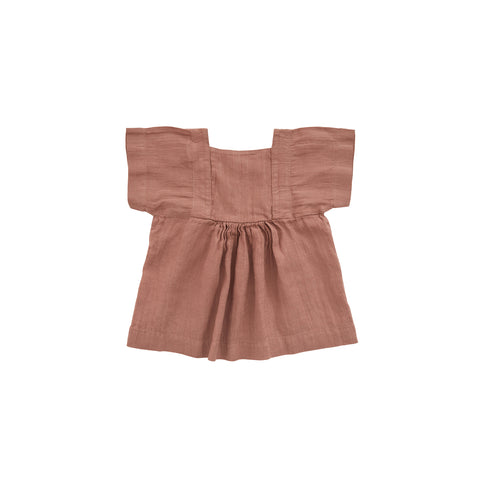 Nobonu Matylda Linen Baby & Girl's Dress in Antique Rose | BIEN BIEN