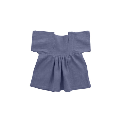 Nobonu Matylda Linen Baby & Girl's Dress in Ocean Blue | BIEN BIEN