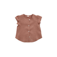 Nobonu Caramella Linen Girl's Blouse in Antique Rose | BIEN BIEN