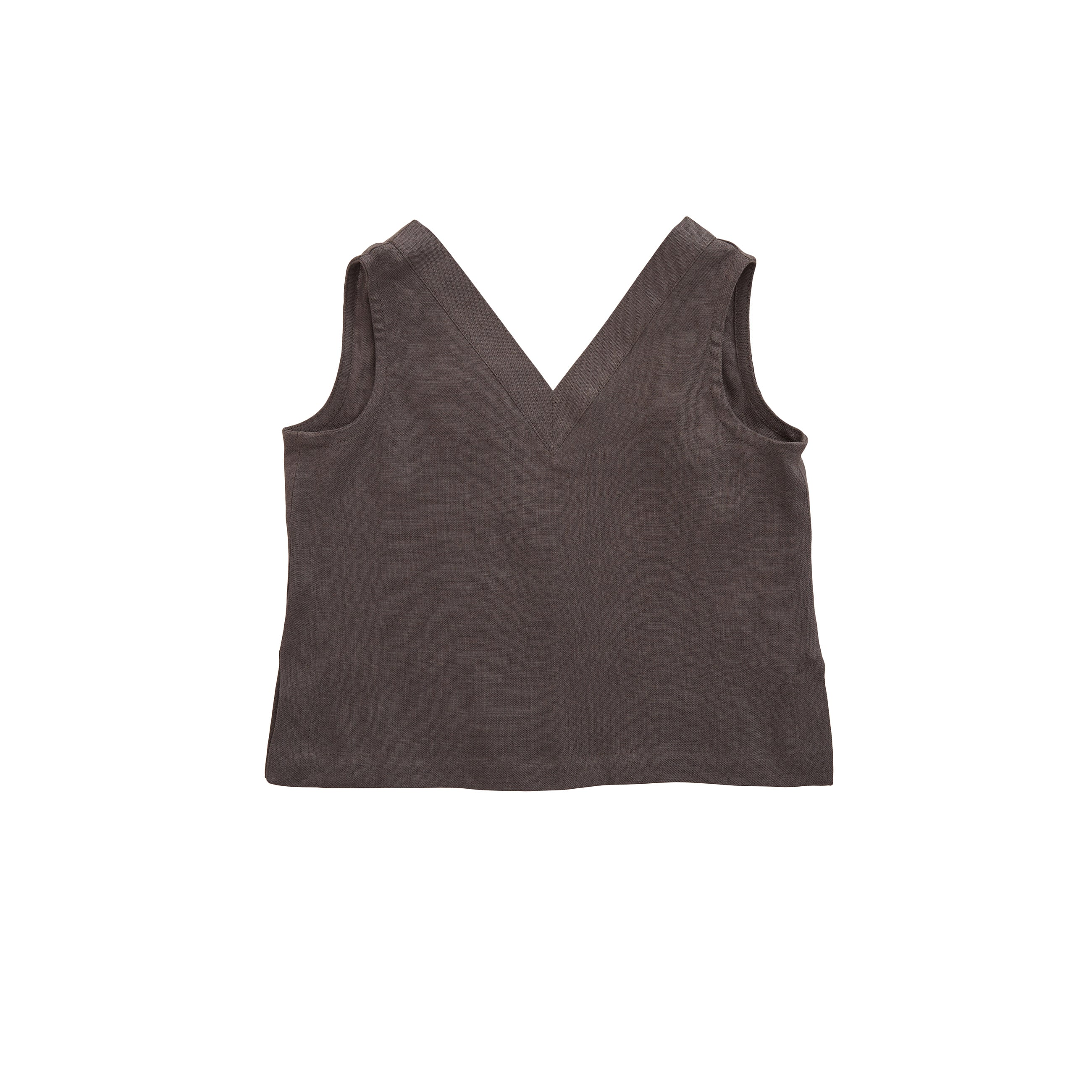 Nobonu Emma Linen Sleeveless Girl's Top in Dark Grey | BIEN BIEN