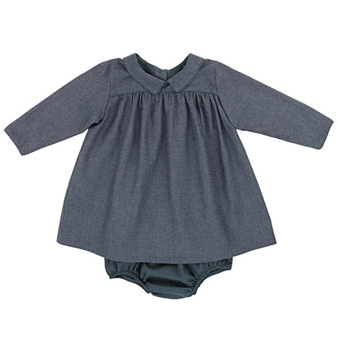 Ketiketa Mia Baby Girl Dress in Chambray Blue | BIEN BIEN
