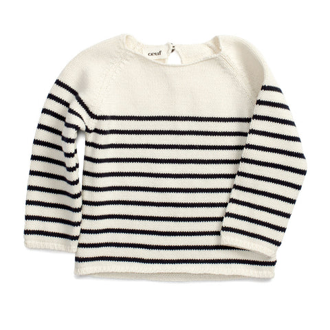 Oeuf Unisex Stripe Sweater Dark Navy Stripe