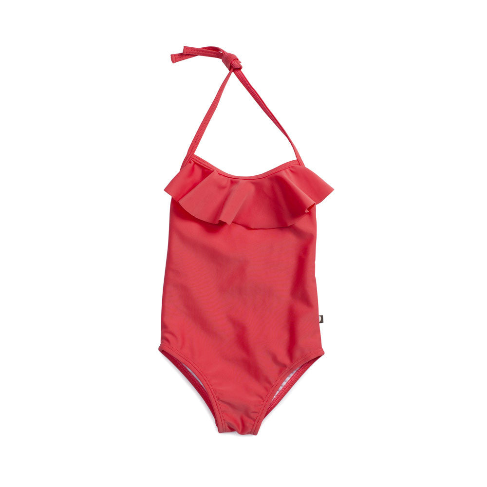 Oeuf Baby Girl Halter Bathing Suit Coral