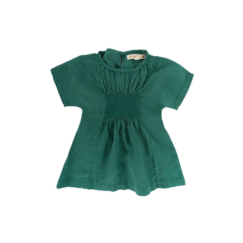 Omibia Bella Baby & Kid's Linen Dress Bottle Green | BIEN BIEN www.bienbienshop.com