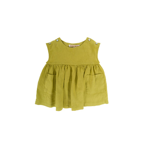 Omibia Glory Baby Girl Linen Dress Lime Green | BIEN BIEN www.bienbienshop.com