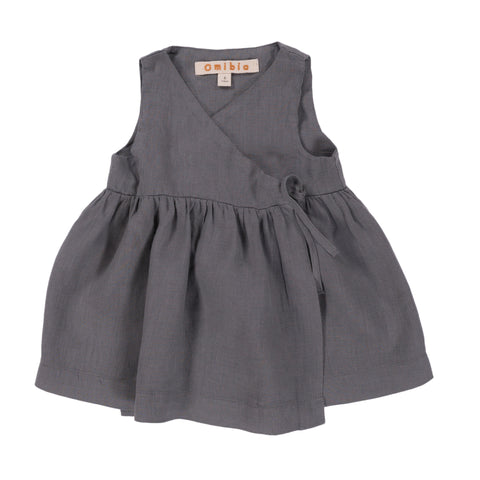 Omibia Villa Organic Baby & Girl's Dress in Misty Grey | BIEN BIEN