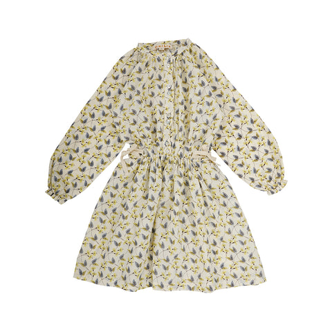 Omibia Organic Ganesh Kid's Dress Earth Print Bone | BIEN BIEN bienbienshop.com