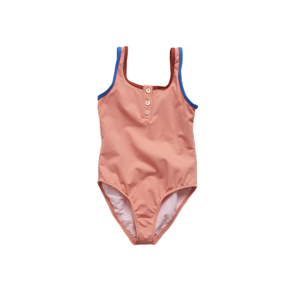 Pacific Rainbow Charlotte Girl's Swimsuit in Abricot | BIEN BIEN
