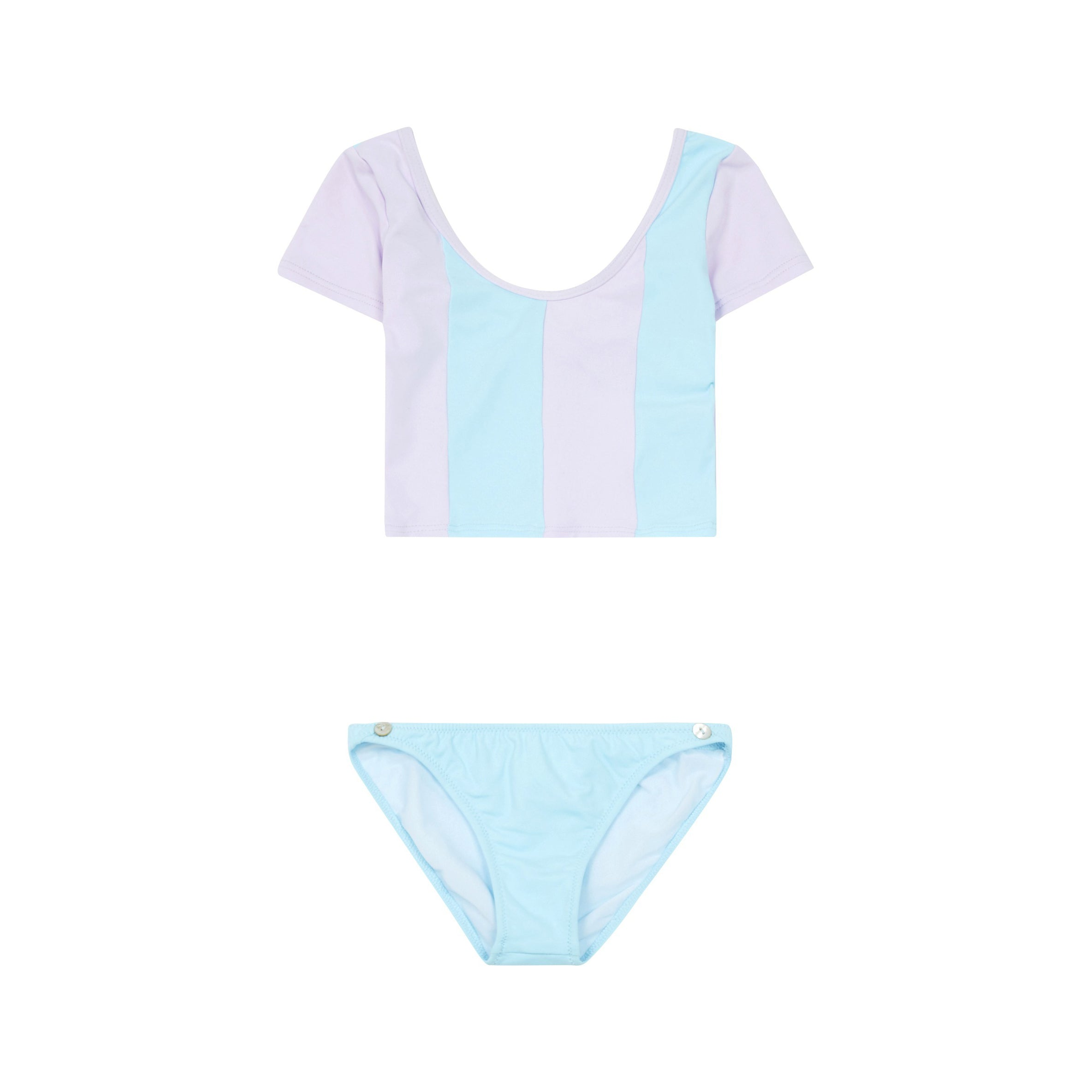 Pacific Rainbow Sally Two-Piece Kid's Cropped Top Bikini Swimsuit Lilac/Celestial Blue | BIEN BIEN