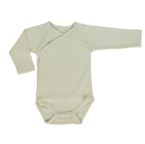NEW Poudre Organic Lierre Baby Long Sleeve Onesie Ivory Pointelle Organic Cotton | BIEN BIEN baby gift under $30