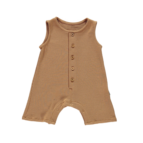 Poudre Organic Poivre Baby Combicourt Romper Tan Waffle | BIEN BIEN baby gifts under $50