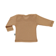 NEW Poudre Organic Begonia Baby Long Sleeve Tee Tan Pointelle Organic Cotton | BIEN BIEN baby gift under $30