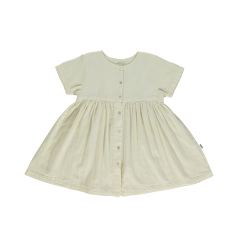 Poudre Organic Guarana Kid's Babydoll Dress Almond Milk | BIEN BIEN