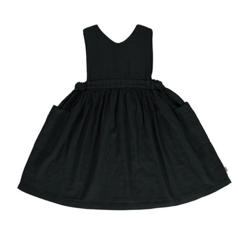 Poudre Organic Mangue Kid's Babydoll Dress Pirate Black | BIEN BIEN