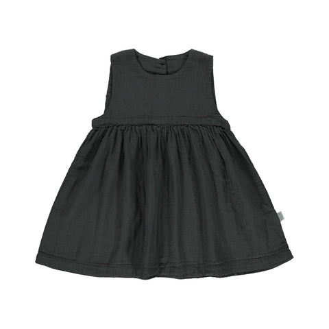 Poudre Organic Matcha Kid's Sleeveless Empire Waist Dress Pirate Black Organic Cotton | BIEN BIEN bienbienshop.com