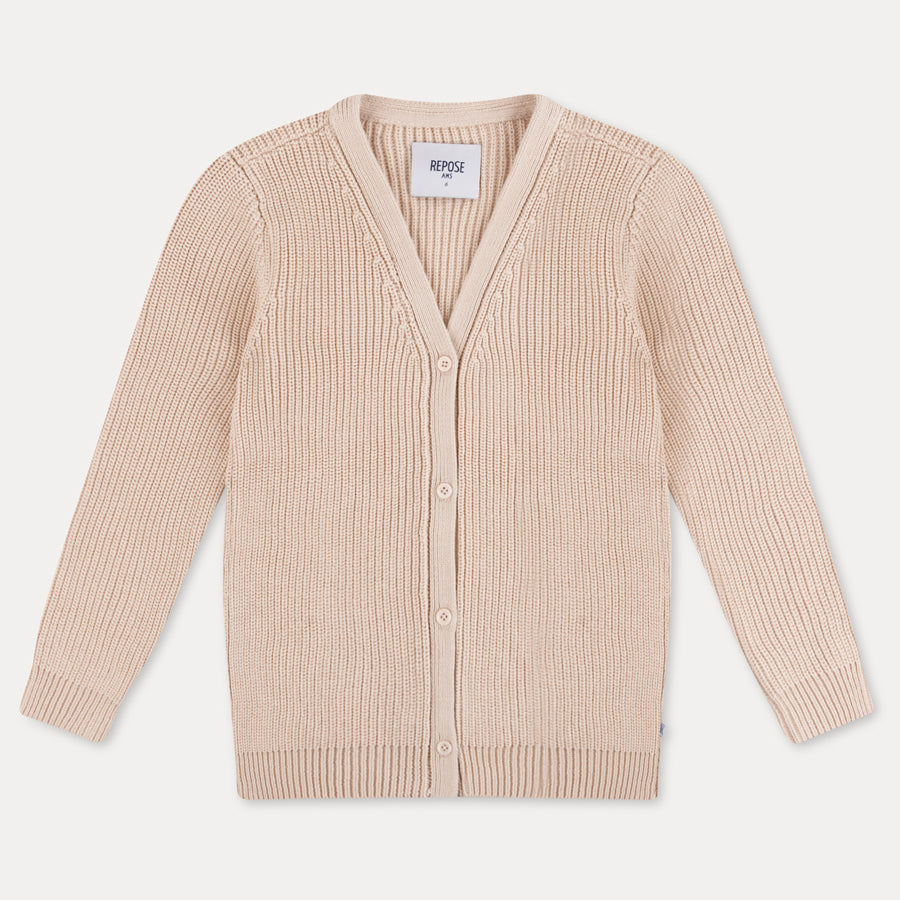 Repose AMS Ribbed Knit Kid's V-Neck Sweater Sand Ivory | BIEN BIEN | www.bienbienshop.com