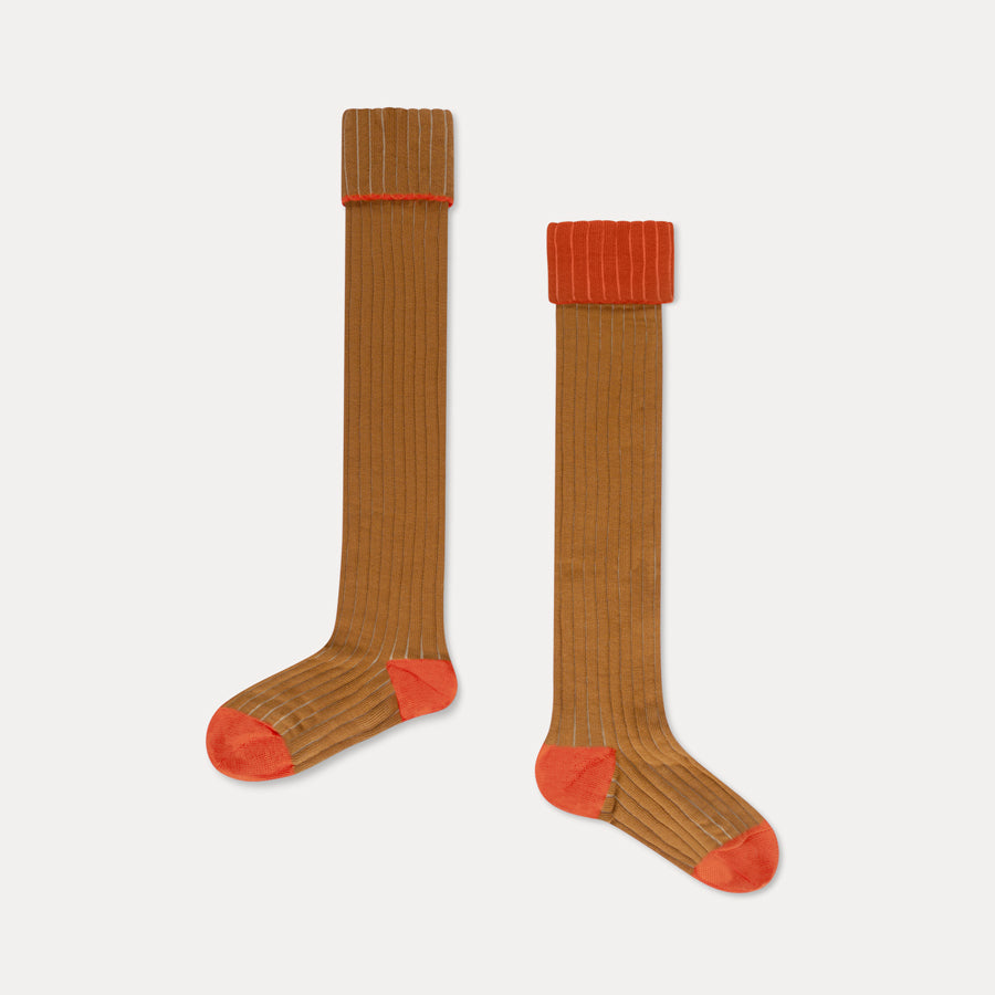 Repose AMS Overknees Ribbed Kid's Socks Warmed Caramel | BIEN BIEN | www.bienbienshop.com