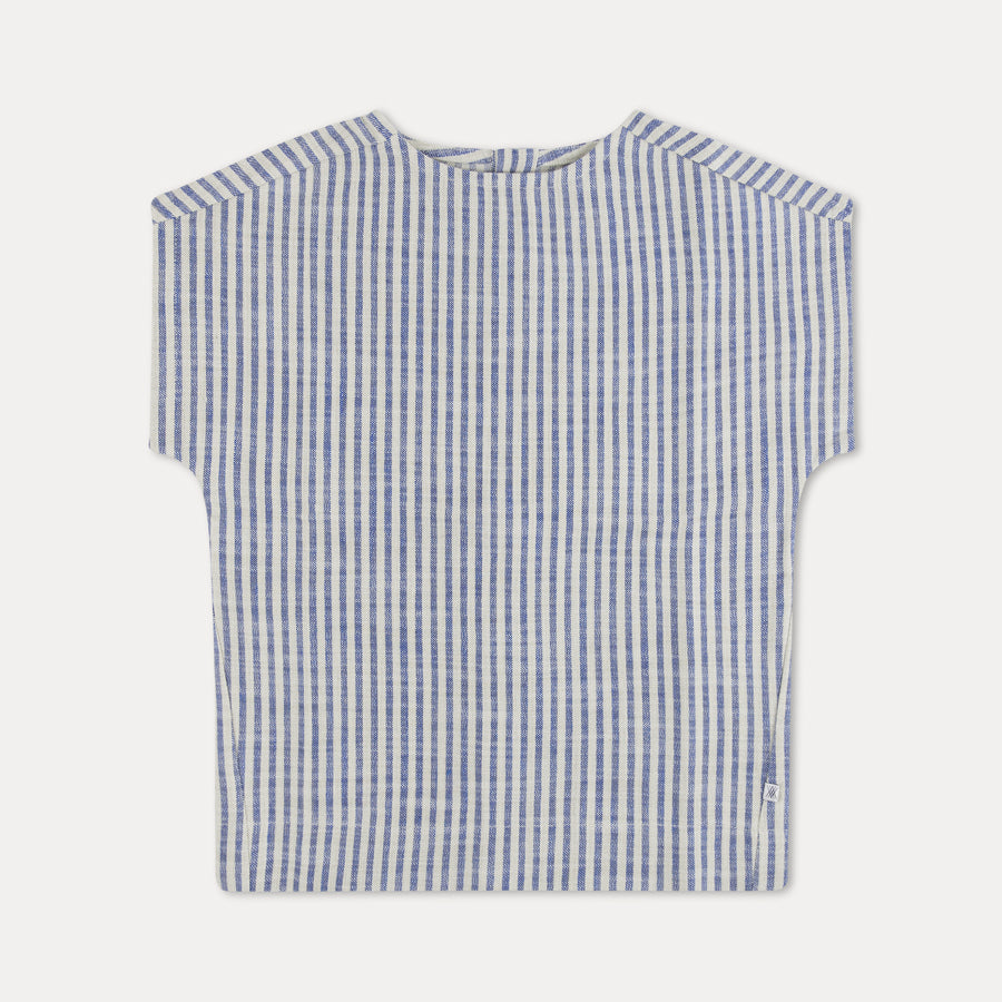 Repose AMS Striped Kid's Woven Tee Sand/Blue Stripe | BIEN BIEN | www.bienbienshop.com
